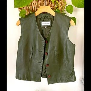 Sharon Young Green Leather Vest 🌿C5